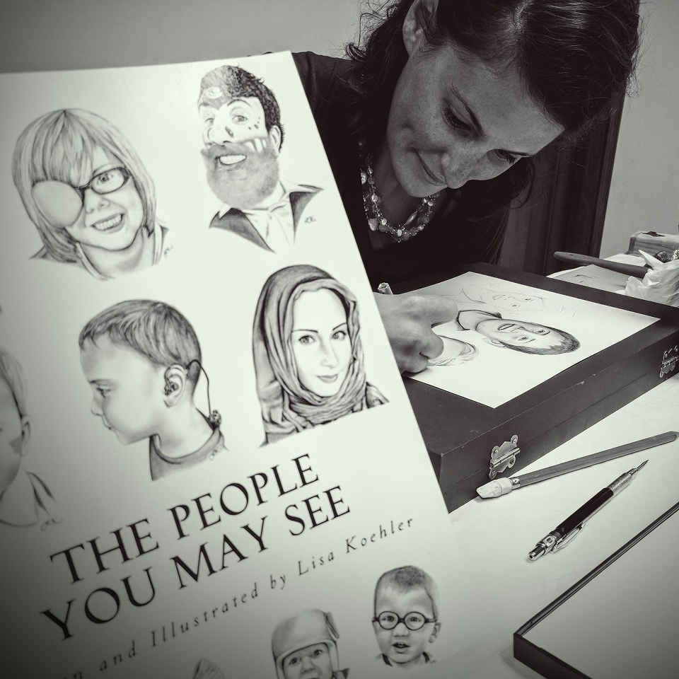 author LIsa Marie koehler illustrating her book the people you may see